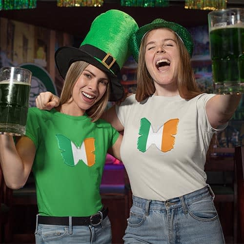 Flag of Ireland Butterfly T-Shirt in Women Crew Triblend on Two Friends Celebrating St Patrick's Day by EventButterfly.com