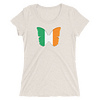 Flag of Ireland Butterfly T-Shirt in Women Relaxed Crew Triblend Oatmeal by EventButterfly.com