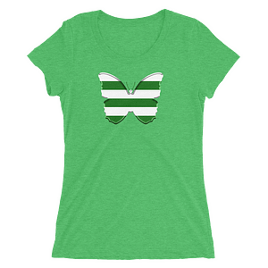 Horizontal Stripes Green and White Butterfly T-Shirt in Women Relaxed Crew Triblend Green by EventButterfly.com