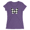 Gingham Black and White Butterfly T-Shirt in a Womens Crew Triblend Purple by EventButterfly.com