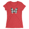 Gingham Black and White Butterfly T-Shirt in a Womens Crew Triblend Red by EventButterfly.com