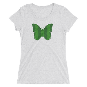 Grass Field Stripes Pattern Butterfly T-Shirt in a Womens Crew Triblend White Fleck by EventButterfly.com