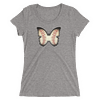 Baseball Butterfly T-Shirt in a Womens Relaxed Crew Triblend Grey by EventButterfly.com