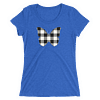 Gingham Black and White Butterfly T-Shirt in a Womens Crew Triblend True Royal by EventButterfly.com