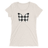 Gingham Black and White Butterfly T-Shirt in a Womens Crew Triblend Oatmeal by EventButterfly.com