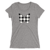 Gingham Black and White Butterfly T-Shirt in a Womens Crew Triblend Grey by EventButterfly.com