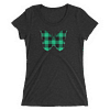 Gingham Black and Green Butterfly T-Shirt in Women Relaxed Crew Triblend Charcoal Black by EventButterfly.com