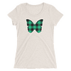 Gingham Black and Green Butterfly T-Shirt in Women Relaxed Crew Triblend Oatmeal by EventButterfly.com