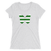 Horizontal Stripes Green and White Butterfly T-Shirt in Women Relaxed Crew Triblend White Fleck by EventButterfly.com