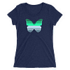 Winter to Spring Butterfly T-Shirt in a Womens Crew Triblend Navy by EventButterfly.com