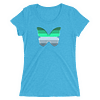 Winter to Spring Butterfly T-Shirt in a Womens Crew Triblend Aqua by EventButterfly.com