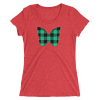 Gingham Black and Green Butterfly T-Shirt in Women Relaxed Crew Triblend Red by EventButterfly.com