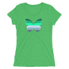 Winter to Spring Butterfly T-Shirt in a Womens Crew Triblend Green by EventButterfly.com