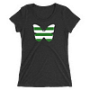 Horizontal Stripes Green and White Butterfly T-Shirt in Women Relaxed Crew Triblend Charcoal Black by EventButterfly.com