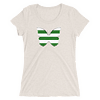 Horizontal Stripes Green and White Butterfly T-Shirt in Women Relaxed Crew Triblend Oatmeal by EventButterfly.com