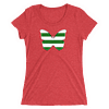 Horizontal Stripes Green and White Butterfly T-Shirt in Women Relaxed Crew Triblend Red by EventButterfly.com