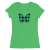 Gingham Black and Green Butterfly T-Shirt in Women Relaxed Crew Triblend Green by EventButterfly.com