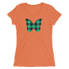 Gingham Black and Green Butterfly T-Shirt in Women Relaxed Crew Triblend Orange by EventButterfly.com